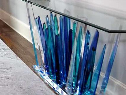 custom glass table, blue, teal, glass, table, interior designer, furniture designer, dallas, plano, frisco