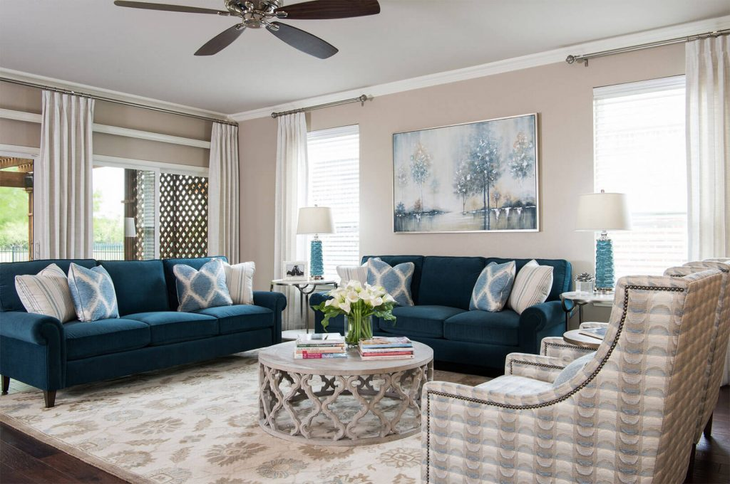 """Custom Round Cocktail & Custom Sofas In Navy Blue Paired With Custom Furniture   Family Room Ideas   Living Room Ideas   DKOR HOME by Dee Frazier Voted """"Best Interior Design Firms"""" of Dallas TX"""