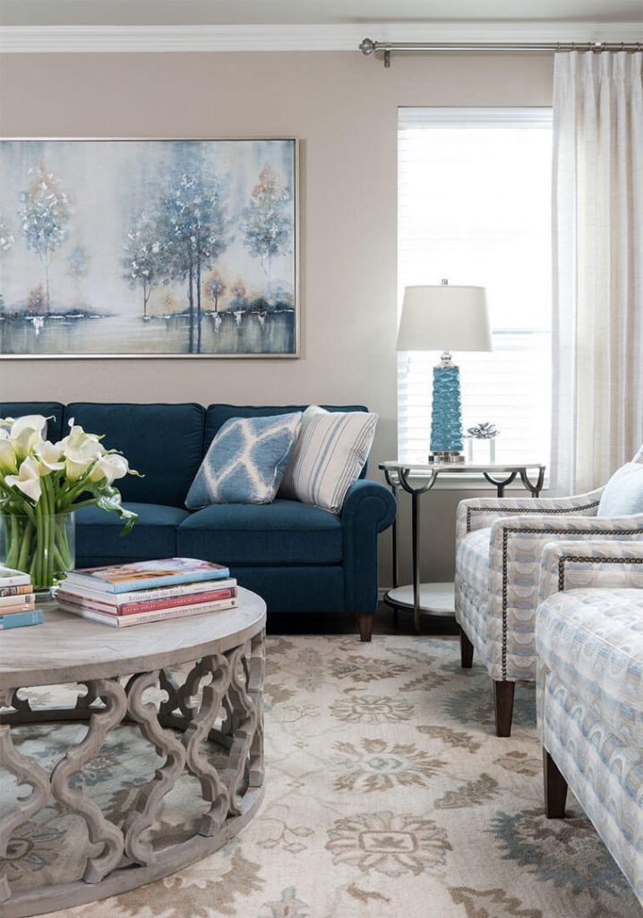 """Custom Round Cocktail & Custom Sofas In Navy Blue Paired With Custom Furniture   Family Room Ideas   DKOR HOME by Dee Frazier Voted """"Best Interior Design Firms"""" of Dallas TX, Living Room Ideas"""
