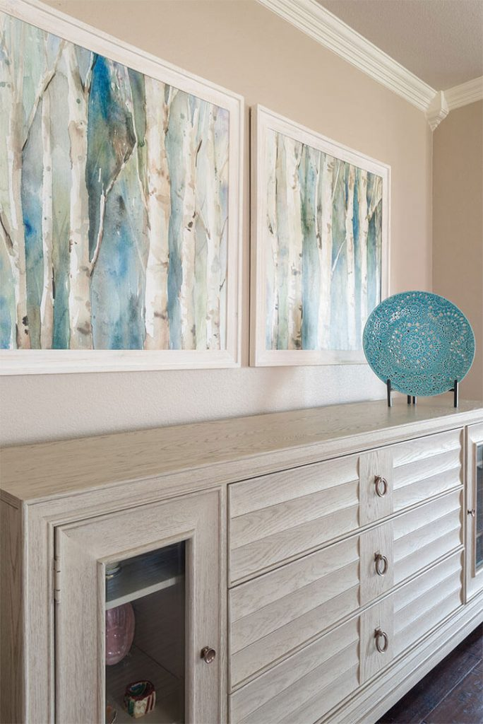 "Custom White Washed Credenza for Storage  | Family Room Ideas | DKOR HOME by Dee Frazier Voted ""Best Interior Design Firms"" of Dallas TX, Living Room Ideas"