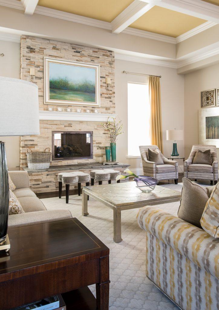 living room, coffered ceiling, Aquarium Room Design Ideas
