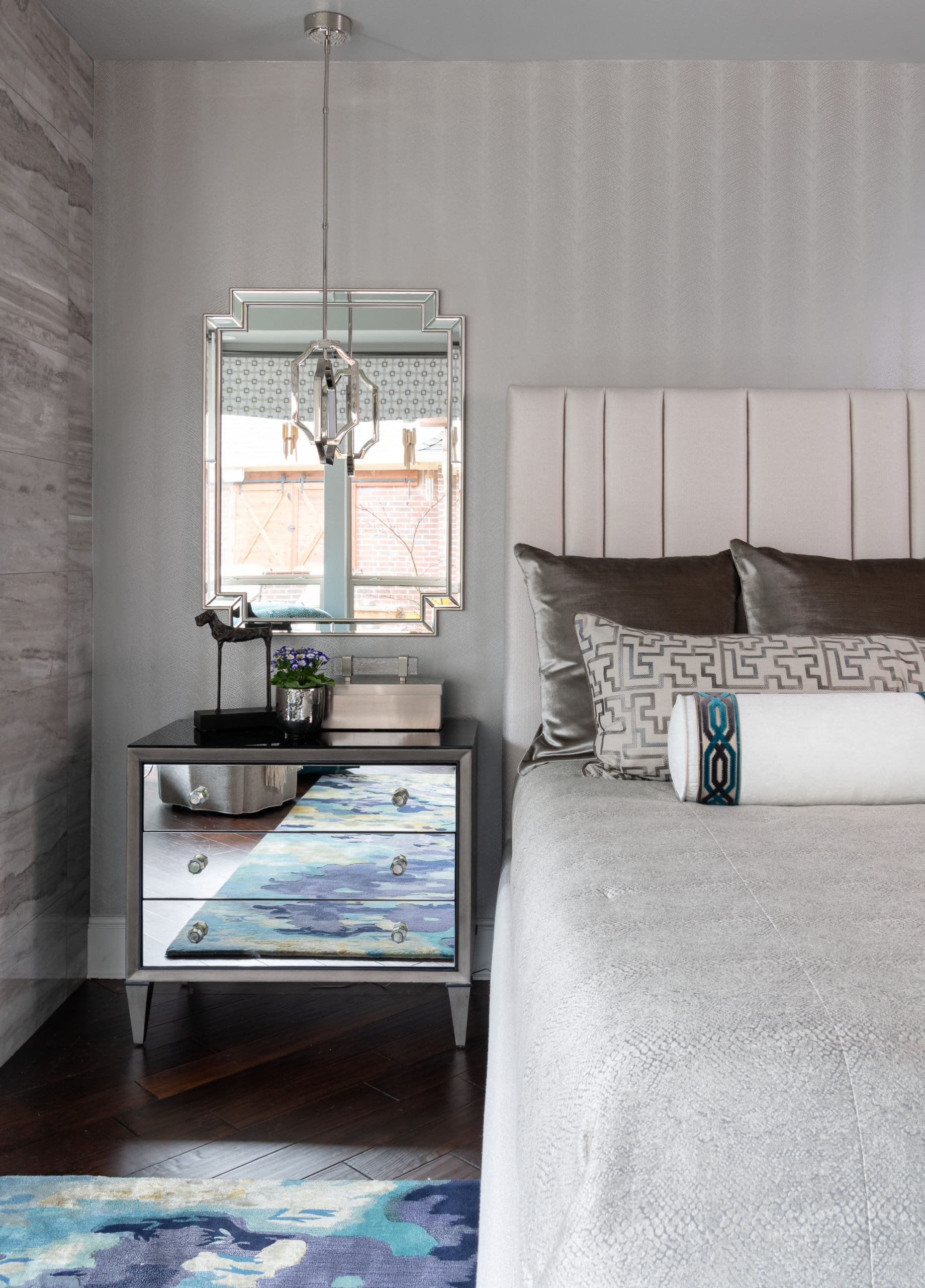 MIRRORED NIGHTSTANDS CHESTS WITH PENDANT CHANDELIER IN PLACE OF LAMP IN MODERN MASTER BEDROOM RENOVATION WITH COLORFUL ACCENTS & HOME DECOR | Best Dallas Bathroom Designer Dee Frazier Interiors, Decorating Den Interiors, Best Designer In Dallas, Plano, Frisco, Allen