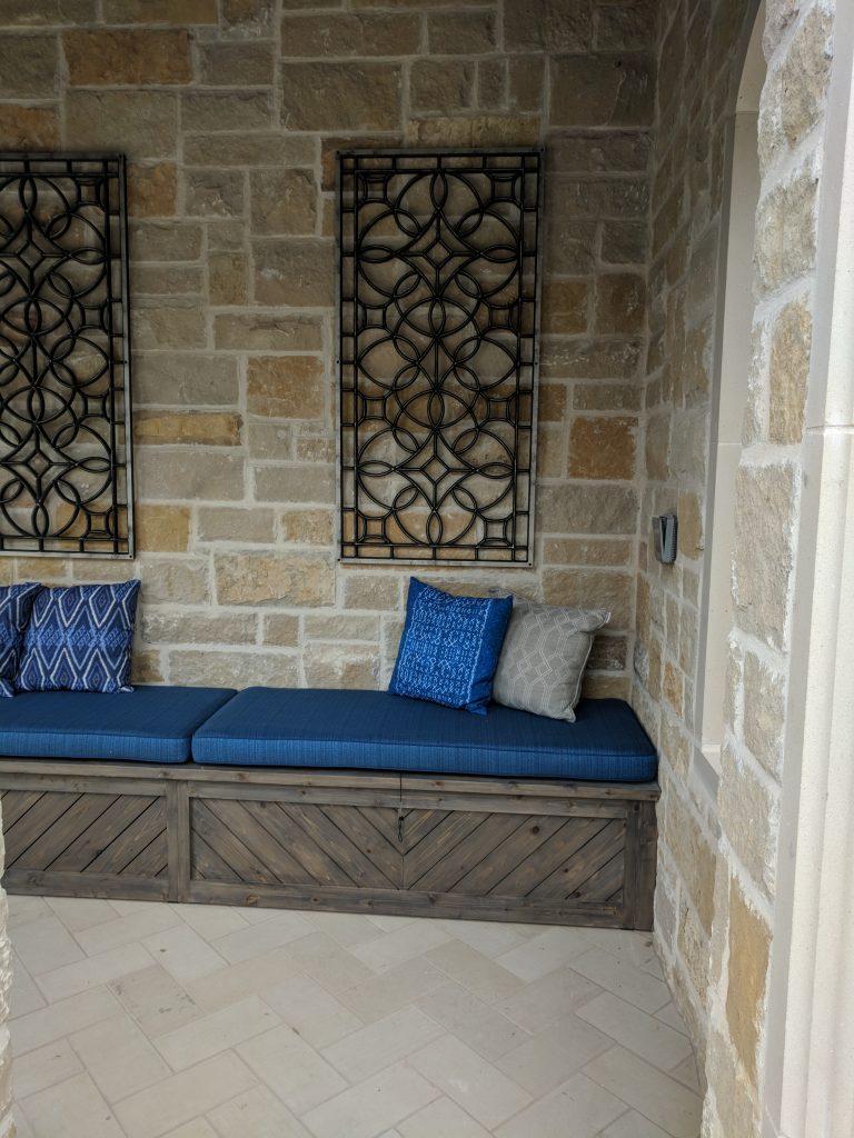 BUILT IN bench patio design ideas