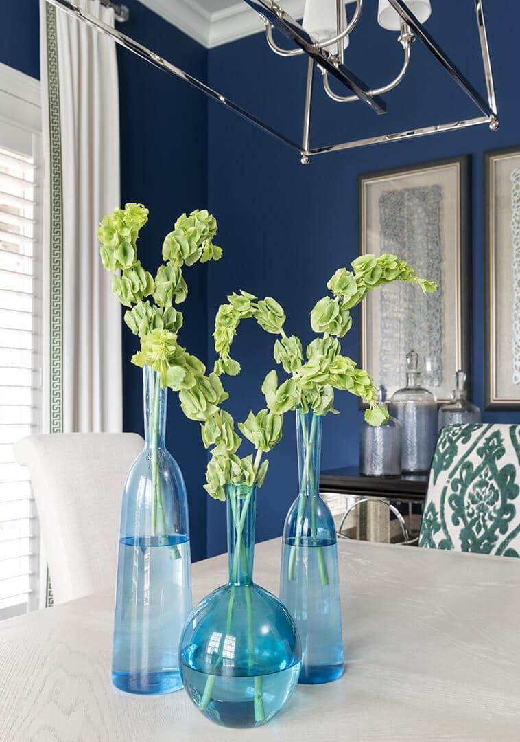 Dining Room Decorating Ideas   Blue Glass Vases   Dallas Interior Designer