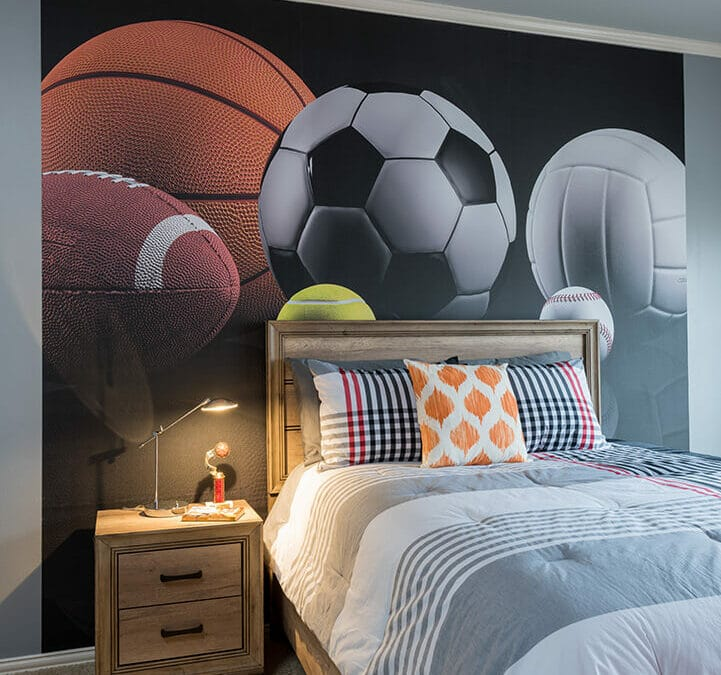 Boys Sports Room Decorating Ideas with mural of Basketball, Soccer, Volleyball, Football Wallpaper by Dee Frazier Interiors Decorating Den Interiors the best Dallas Interior Designer