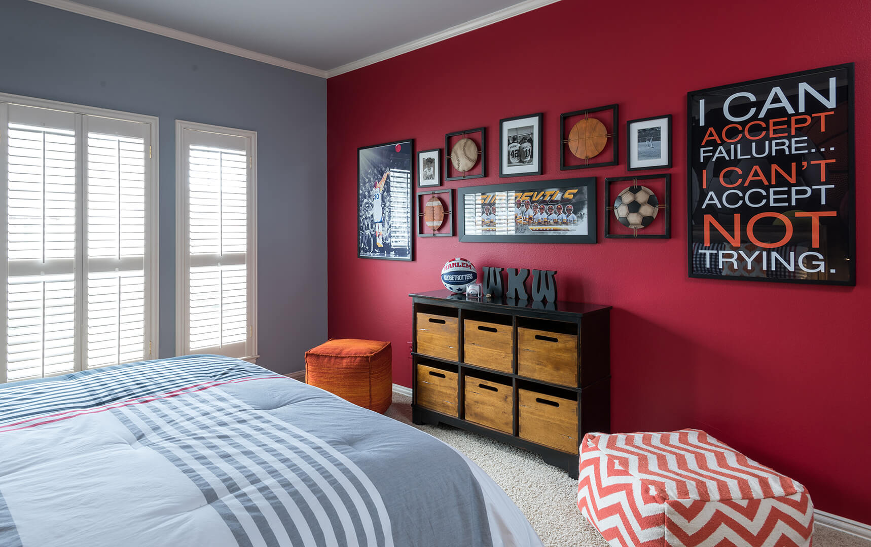 Red Painted Focal Wall Boys Basketball Room Decorating Ideas by Dee Frazier Interiors Decorating Den Interiors the best Dallas Interior Designer