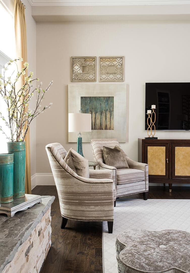custom taupe chair by best interior designers dallas TX Dee Frazier Interiors Decorating Den Interiors the best Frisco Interior Designer