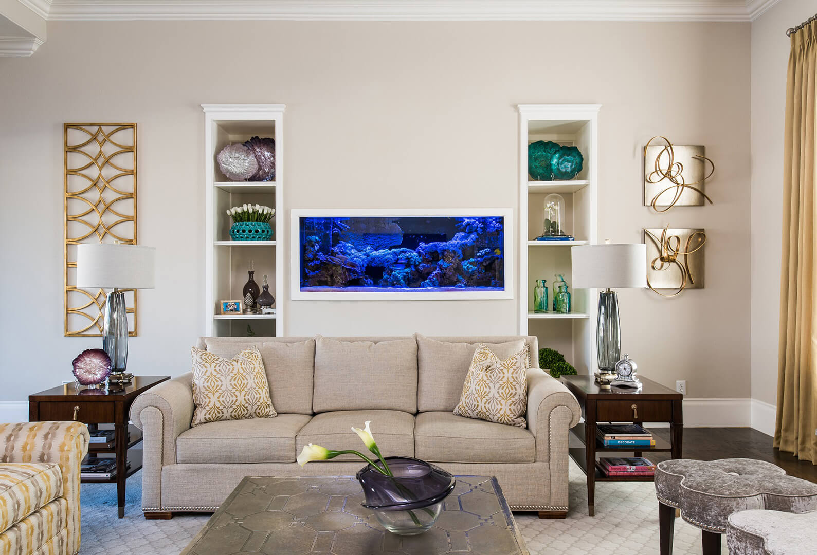 beautiful living room ideas with interior design with aquarium in family room by best interior designers dallas TX Dee Frazier Interiors Decorating Den Interiors the best Frisco Interior Designer