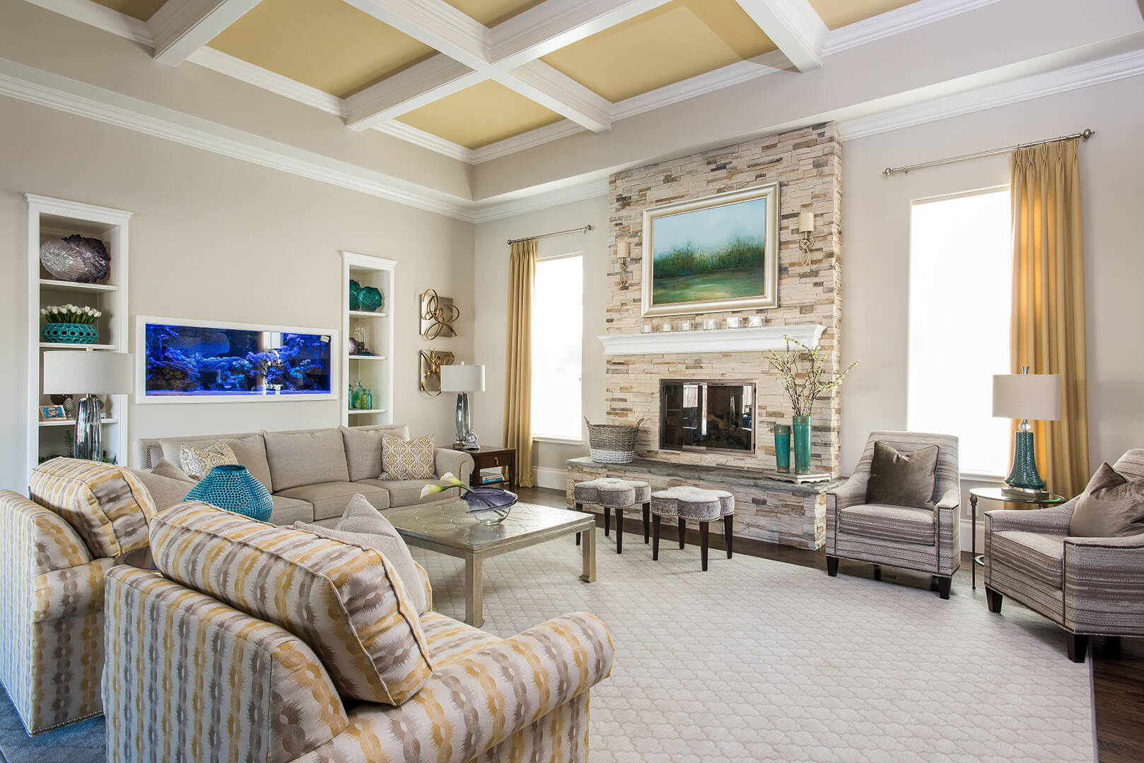 beautiful living room ideas with yellow room with coffered ceiling home renovation best interior designers dallas TX Dee Frazier Interiors Decorating Den Interiors the best Frisco Interior Designer