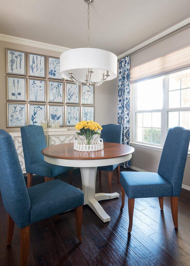 custom window treatments in Blue & White Dining Room Decorating Ideas | Dallas Interior Designer | Dallas Interior Decorator