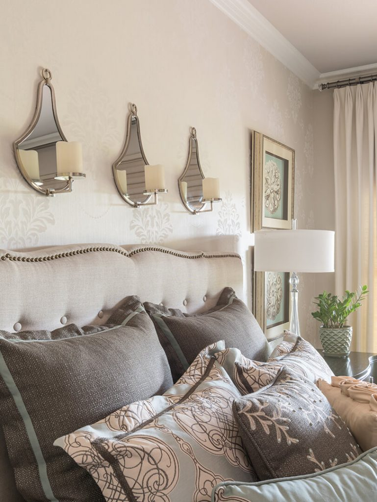 2020 master bedroom design ideas, Master Bedroom Decorating Ideas   Cream Upholstered Headboard   Dallas Interior Designer