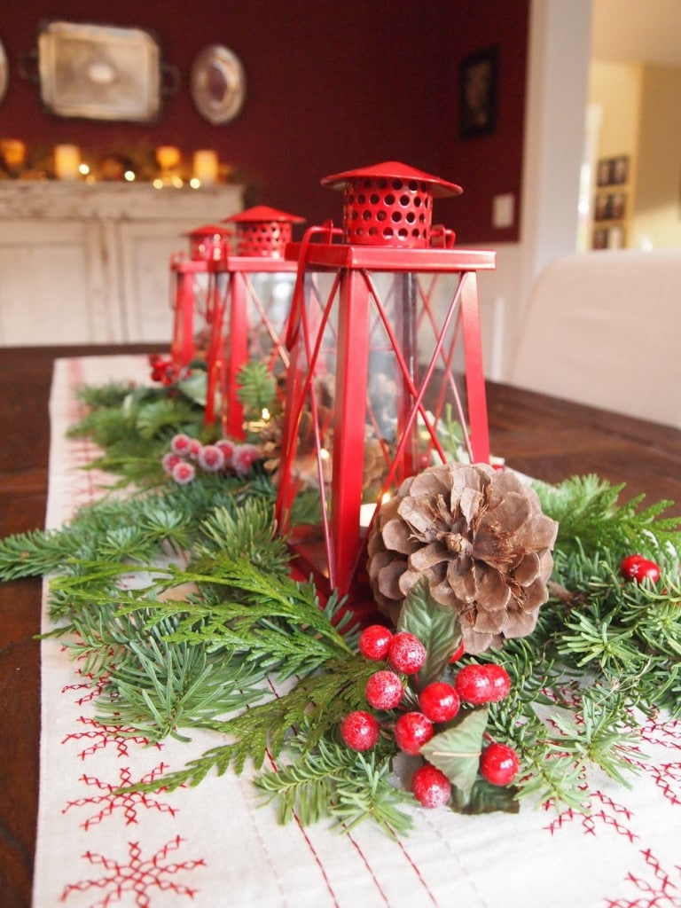 red lantern christmas table centerpiece