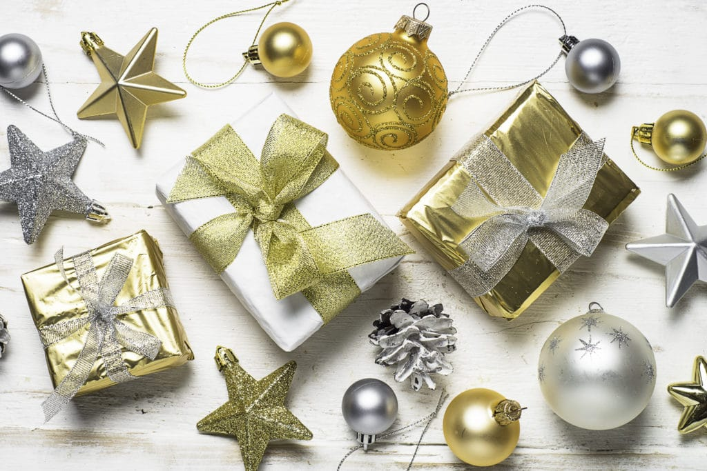 101 Holiday Gift Wrapping Ideas To Make Your Christmas Bright - A group of items on a table - Christmas ornament
