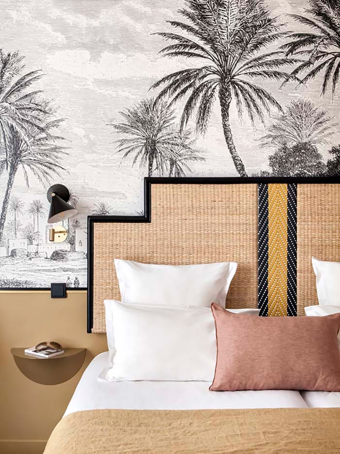 doisy, black palm tree monochrome wallpaper trends, 2020 wallcovering trends,