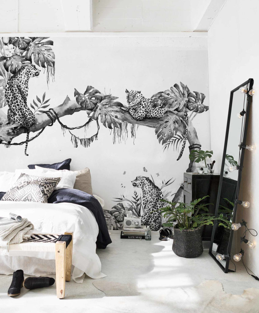 monochrome wallpaper trends, 2020 wallcovering trends,