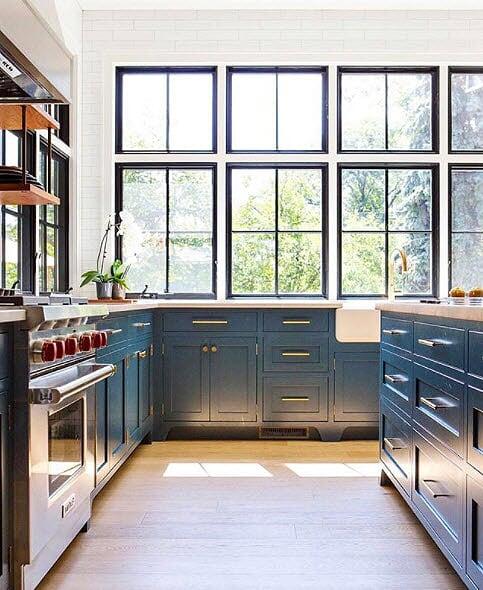 Navy Kitchen Cabinets & Wolf Range With Red Knobs, Black Window Frames   Kitchen Design Ideas 2020, best kitchen design ideas 2020, navy blue kitchen cabinets, navy blue cabinets, home, interior, design, dallas, designers, home, interior, design, dallas, designers, view, dallas interior designers