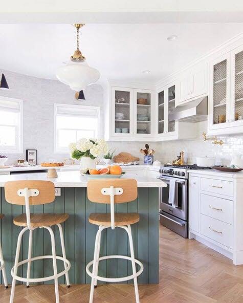 Green Shiplap Kitchen Cabinets & Contrast Kitchen Island   Kitchen Design Ideas 2020, best kitchen design ideas 2020, navy blue kitchen cabinets, navy blue cabinets, home, interior, design, dallas, designers, home, interior, design, dallas, designers, view
