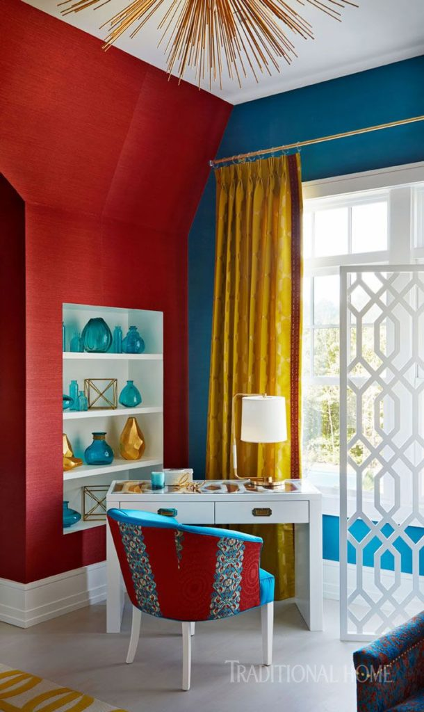 24 Super Colorful Home Office Ideas That Make Working At Home Easier 8 | Award-Winning Interior Designers, Interior Decorators, Kitchen Designers, Bath Designers, Home Renovations, Window Treatments, & Custom Furniture D'KOR HOME by Dee Frazier Interiors | Interior Designer Dallas TX