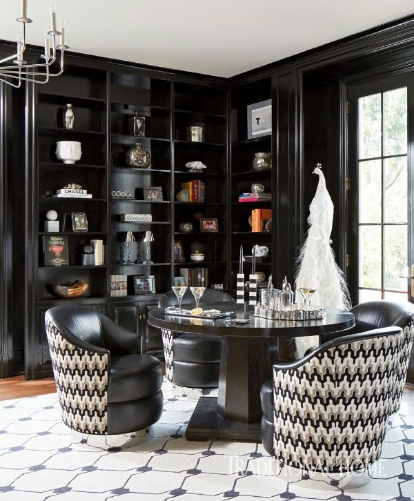 black and white library, home office ideas, study ideas for men, study ideas for her, black and white interior design ideas, color trends 2020