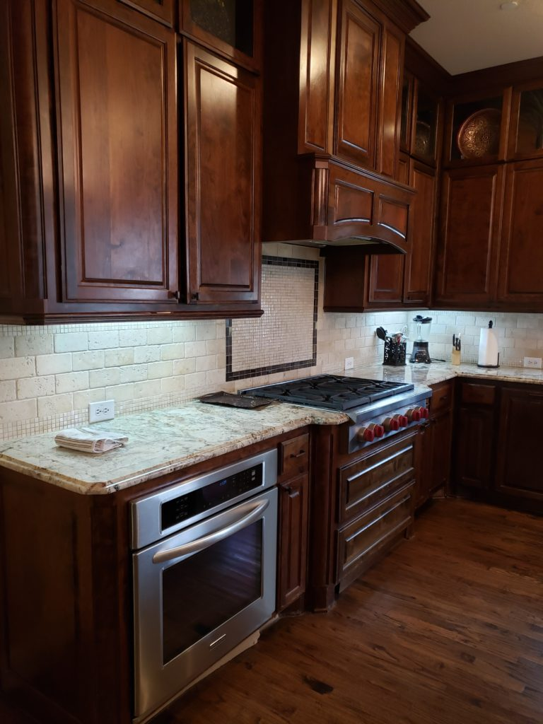 dallas texas stained kitchen with dark floors