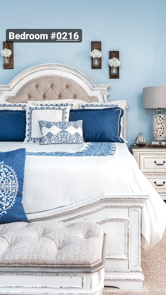 blue & white DAllas, TX bedroom interior designer, home renovation, interior design