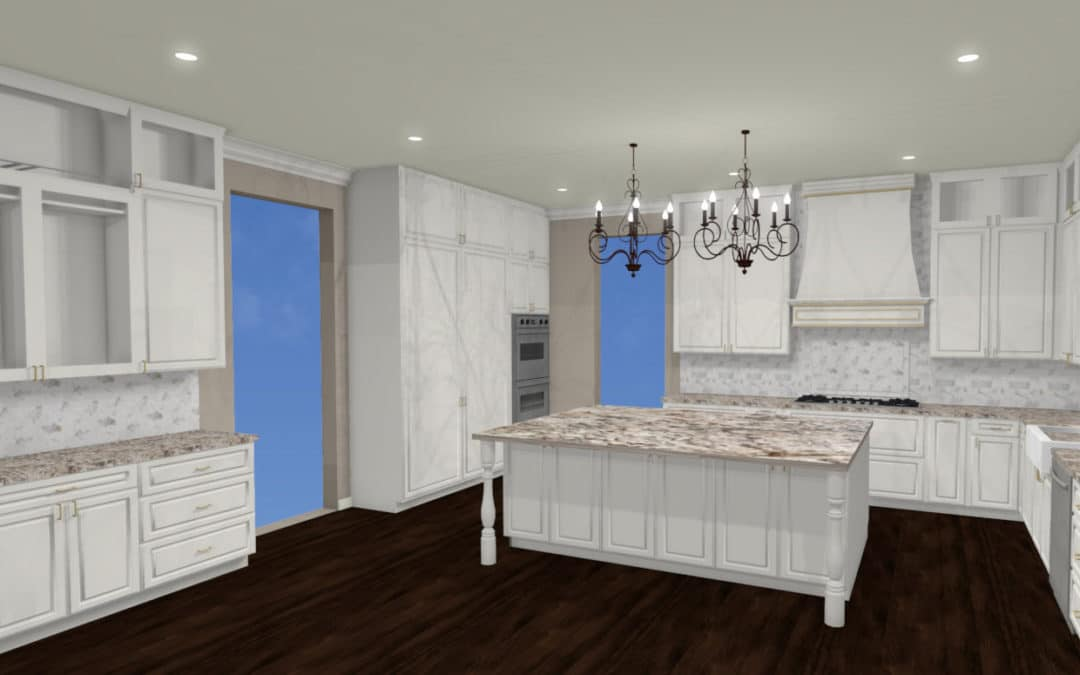 water damage restoration guide 3-D rendering of all white kitchen with dark floors