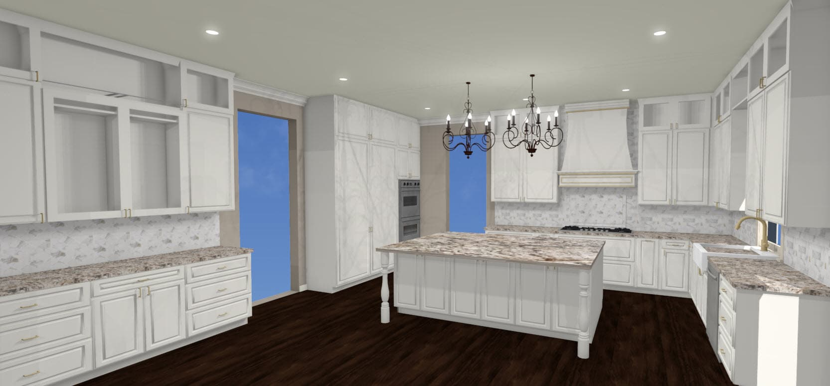 3-D rendering of all white kitchen with dark floors