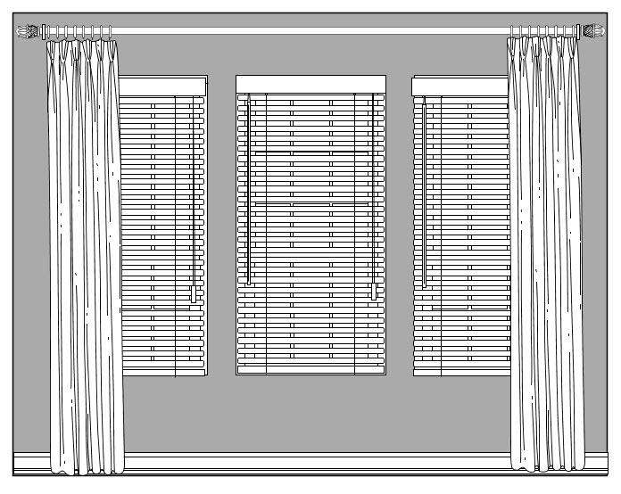 window treatment design for triple window with panels and blinds, custom window treatments, dallas TX, sketch