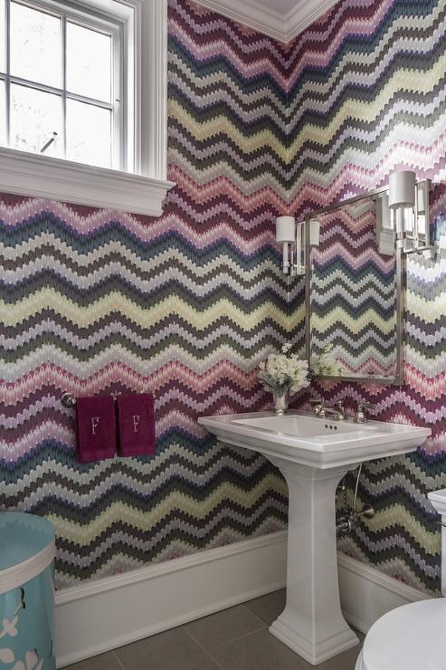 Missoni different types of zig zags patterns zig zag wallcovering in bathroom remodel, wallpaper zig zag pattern
