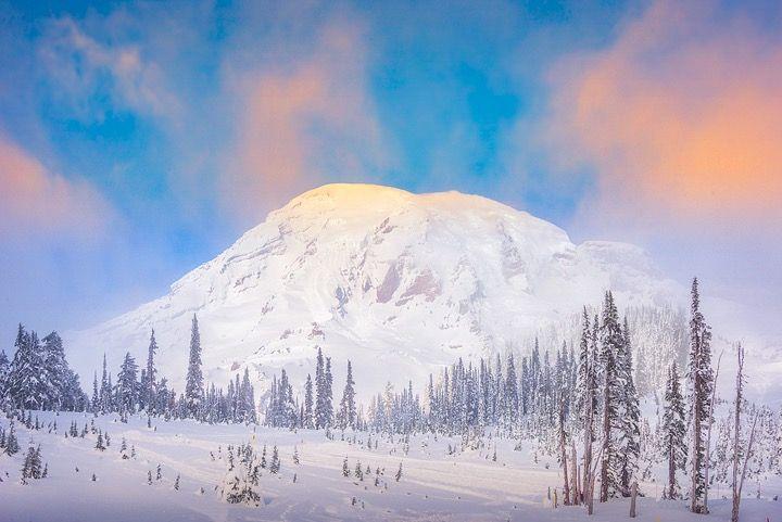 view of Mount Rainer near Sequim, Washington,