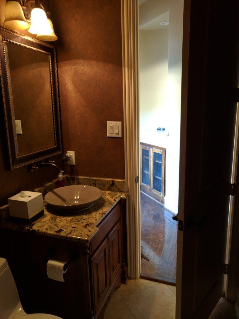 before dark bathroom, dark powder room remodel project