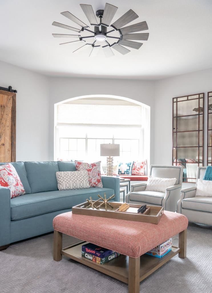 Color Trends in Interior Design 2020, dusty blue custom sofa, custom furniture, bonus room design ideas