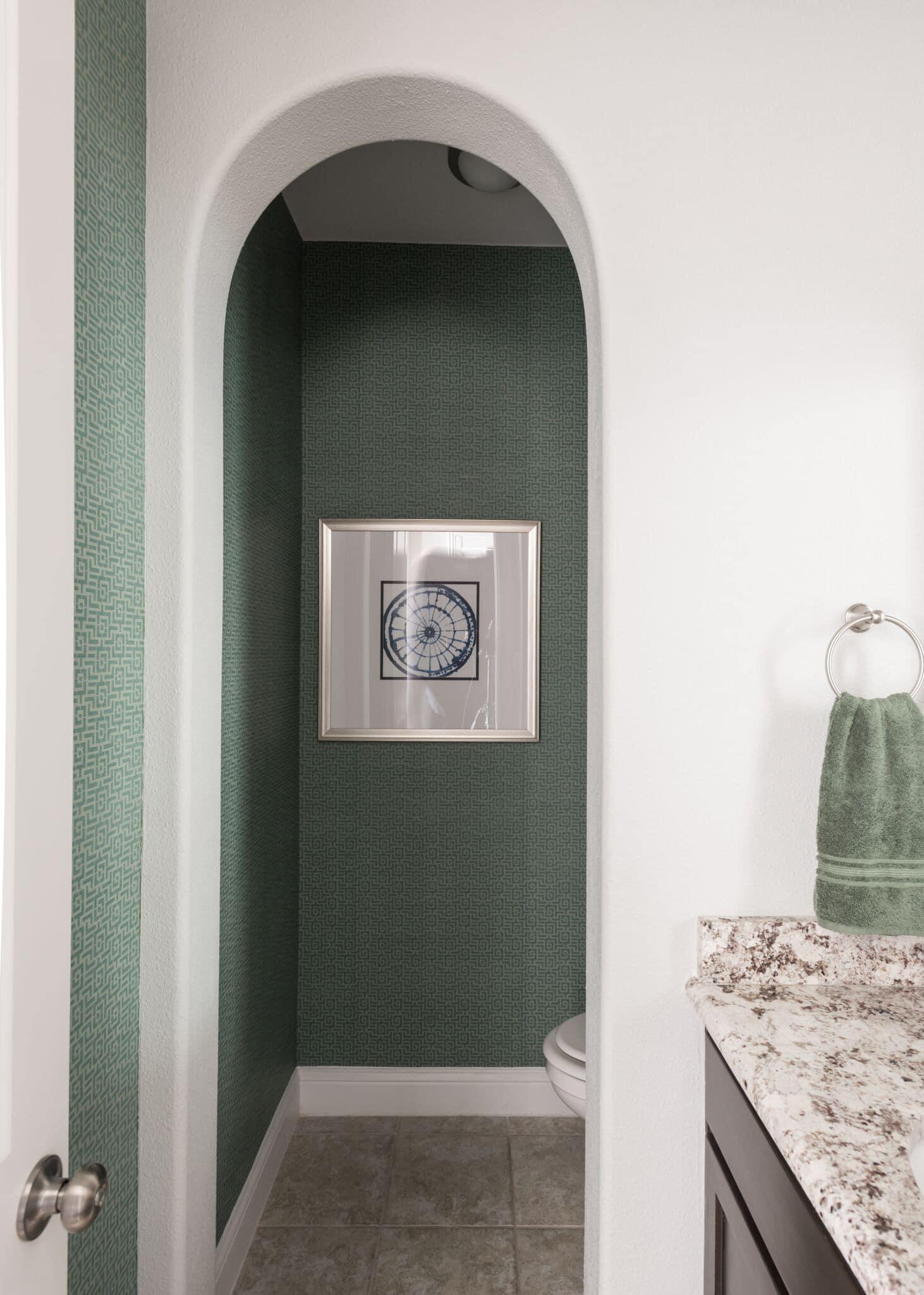 organic tones color trends 2020, green powder room