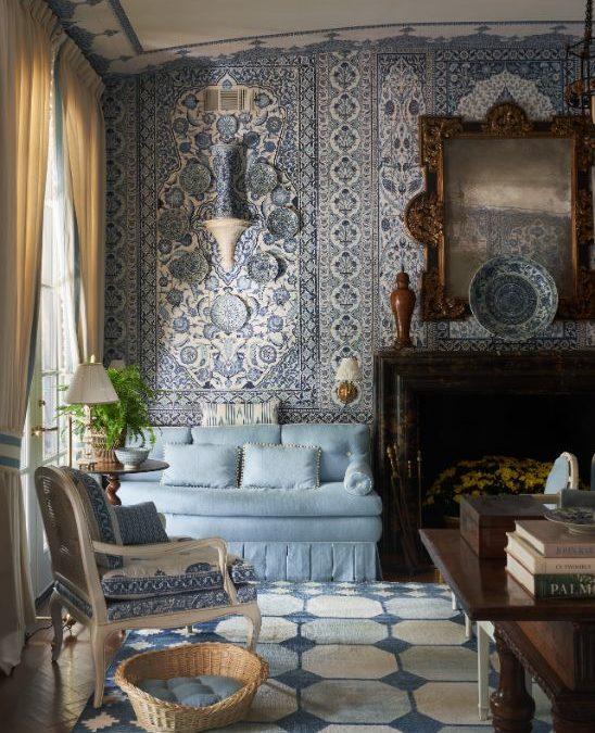 blue & white formal living room ideas 2021, formal living room furniture, mark sikes, kps bay dallas showhouse, home, interior, design, dallas, designers, home, interior, design, dallas, designers, view