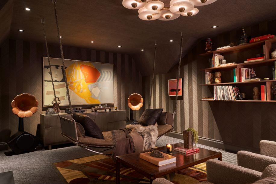 HiFi Lounge & Art Deco Inspired Media Room at Kips Bay Dallas Showhouse by Cravotta Interiors