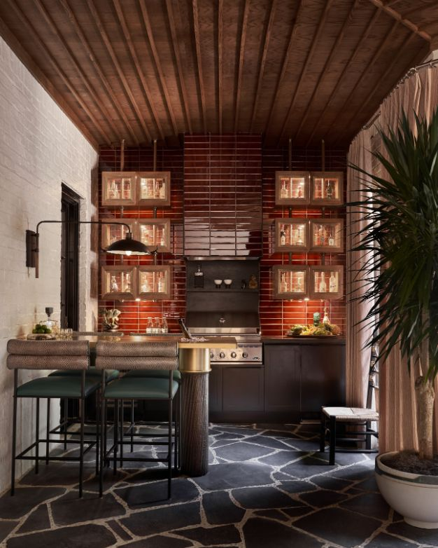 Most Luxurious Art Deco Style Screen Porch Ideas from Kips Bay Designer Showhouse 2 | Award-Winning Interior Designers, Interior Decorators, Kitchen Designers, Bath Designers, Home Renovations, Window Treatments, & Custom Furniture D'KOR HOME by Dee Frazier Interiors | Interior Designer Dallas TX