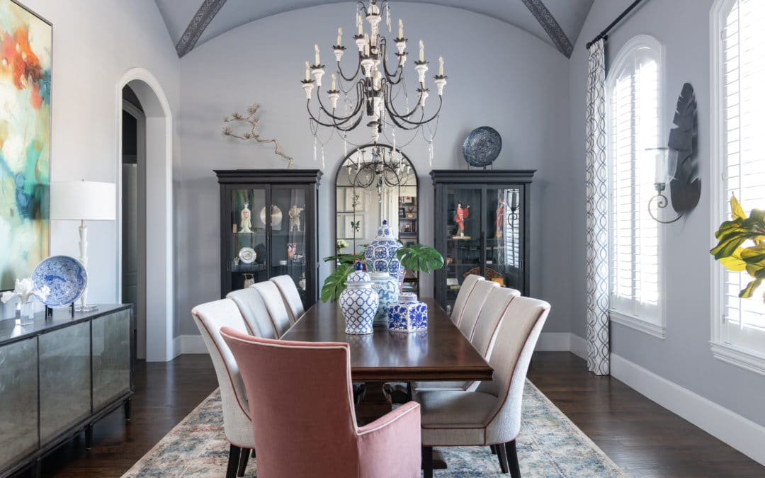 Before & After | Inspiring Overhauled Dining Room with Upholstered Dining Room Chairs & Groin Vault Ceiling