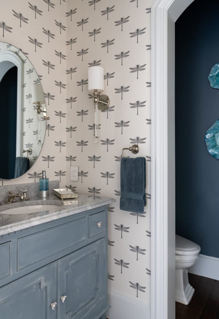 before and after powder room makeover photos, dragonfly wallpaper, blue powder room vanity ideas, blue cabinet ideas, blue walls, dragonfly wallpaper, 2020 Powder room ideas, modern Powder room ideas, Powder room ideas, dkorhome, Dallas Designers, neutral home office ideas with colorful accents interior design blog, D'KOR HOME by Dee Frazier Interiors, Interior Designers Near Me, Dallas TX, Dallas interior decorators, Dallas interior designers, Plano interior decorator, allen interior decorator, allen interior designer, frisco interior designer, frisco interior decorator, dallas home designer, award winning interior designer, asid dallas, color interiors spring, interior design dallas, interior decorator dallas, dallas interior design firms, interior design dallas texas, texas interior design, residential interior design firms dallas, dallas interior design service, granite interiors dallas
